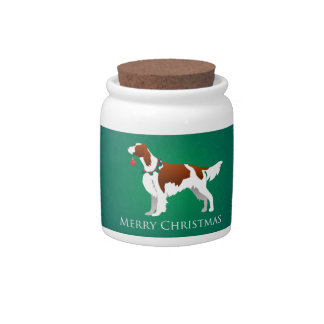 Irish Red and White Setter Merry Christmas Design Candy Dish