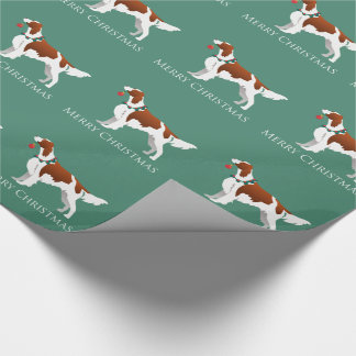 Irish Red and White Setter Merry Christmas Wrapping Paper