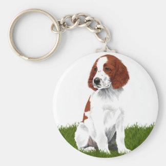 Irish Red and White Setter Puppy Basic Round Button Key Ring