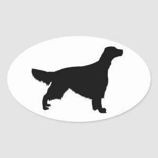 irish red and white setter silhouette oval sticker