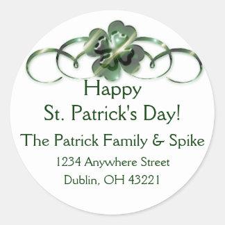 Irish Return Address Labels :: Shamrock Design 10 Round Sticker
