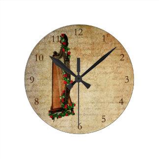 Irish Rose Harp Clock