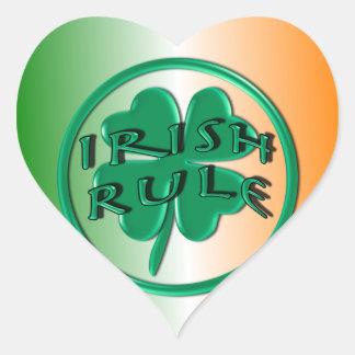 Irish Rule - Ireland Colors and Shamrock Heart Sticker