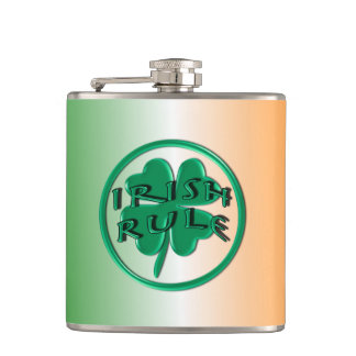 Irish Rule - Ireland Colors and Shamrock Hip Flask