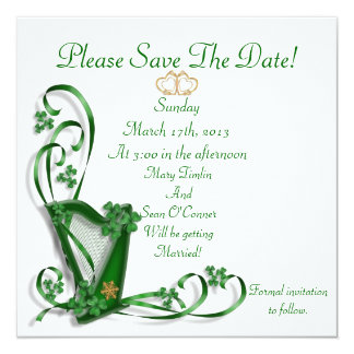 Irish Save the date for Wedding, Harp 13 Cm X 13 Cm Square Invitation Card