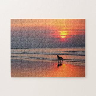 Irish Setter at Sunset by the Irish Sea Puzzle