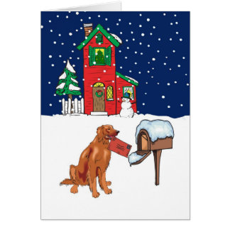 Irish Setter Christmas Mail Greeting Card