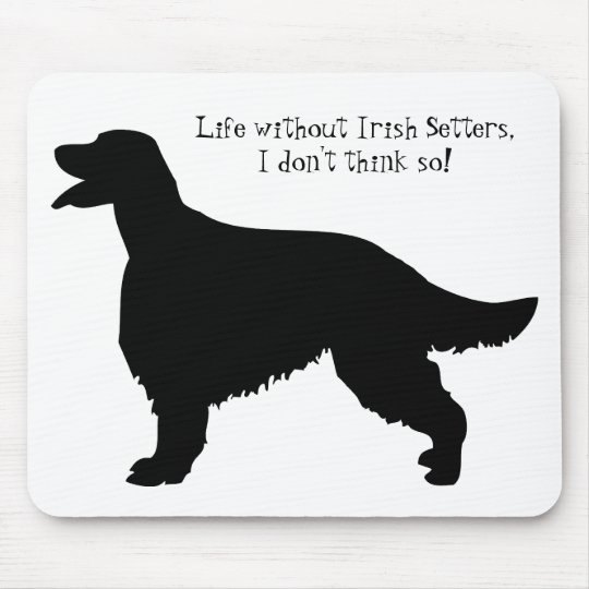 Irish Setter dog, black silhouette mousepad, gift Mouse