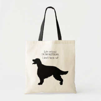 Irish Setter dog black silhouette tote bag, gift Budget Tote Bag