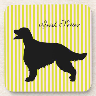 Irish Setter dog green & pink stripes coaster