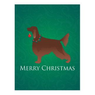 Irish Setter Dog Merry Christmas Design Postcard