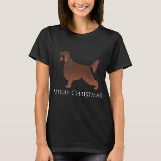 Irish Setter Dog Merry Christmas Design T-Shirt