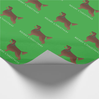 Irish Setter Dog Merry Christmas Design Wrapping Paper