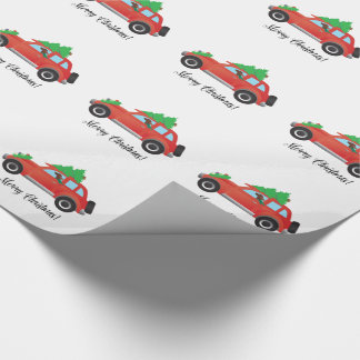 Irish Setter Driving a Car with a tree on top. Wrapping Paper