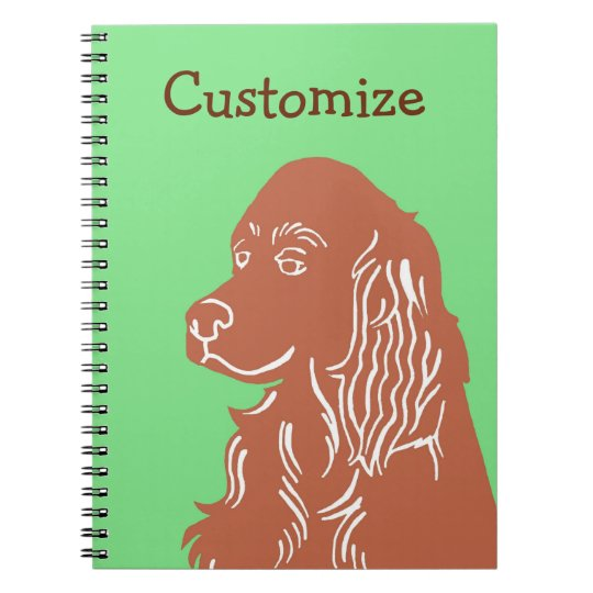 Irish Setter Green and Brown Customisable Notebook