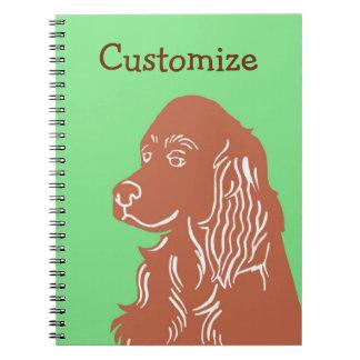 Irish Setter Green and Brown Customizable Notebook