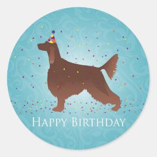 Irish Setter Happy Birthday Design Round Sticker