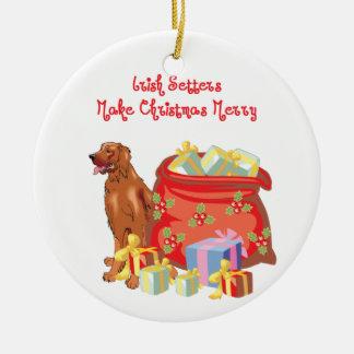 Irish Setter Merry Christmas Christmas Ornament
