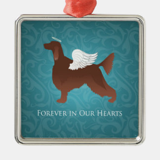 Irish Setter Pet Memorial Angel Dog Design Silver-Colored Square Decoration