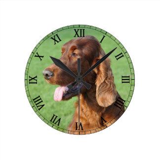 Irish Setter Round Clock