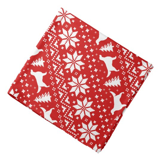 Irish Setter Silhouettes Christmas Pattern Red Bandana