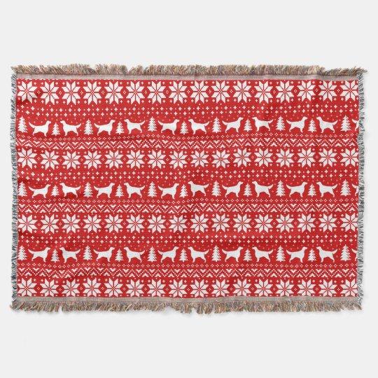Irish Setter Silhouettes Christmas Pattern Red Throw Blanket