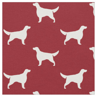 Irish Setter Silhouettes Pattern Red Fabric