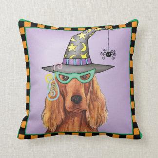 Irish Setter Witch Throw Pillow