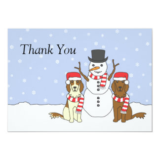 Irish Setters and Snowman Card