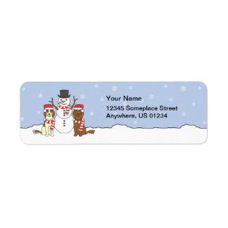Irish Setters and Snowman Return Address Label