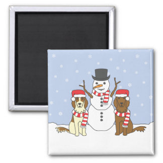 Irish Setters and Snowman Square Magnet