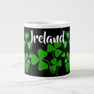 Irish shamrock, black, Ireland, green clover 8 Large Coffee Mug