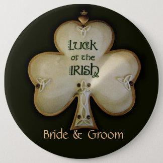 Irish Shamrock Bride and Groom Button - Customized