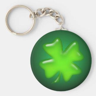 IRISH SHAMROCK by SHARON SHARPE Basic Round Button Key Ring