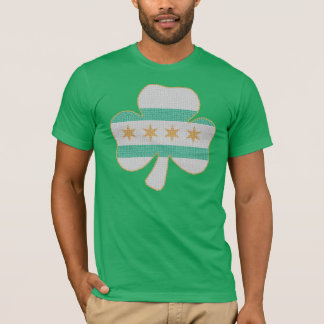 Irish Shamrock Chicago Flag Kelly Green T Shirt