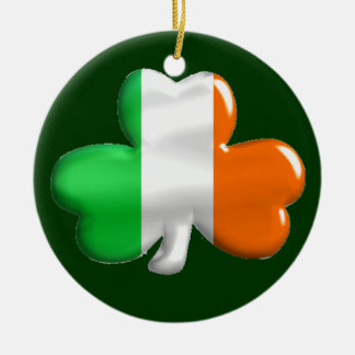 Irish Shamrock Clover Flag Double-Sided Ceramic Round Christmas Ornament