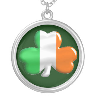 Irish Shamrock Clover Flag Silver Plated Necklace