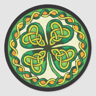 Irish Shamrock in Celtic Knots Classic Round Sticker