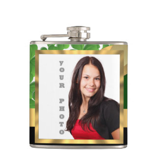 Irish shamrock instagram  photo template hip flask