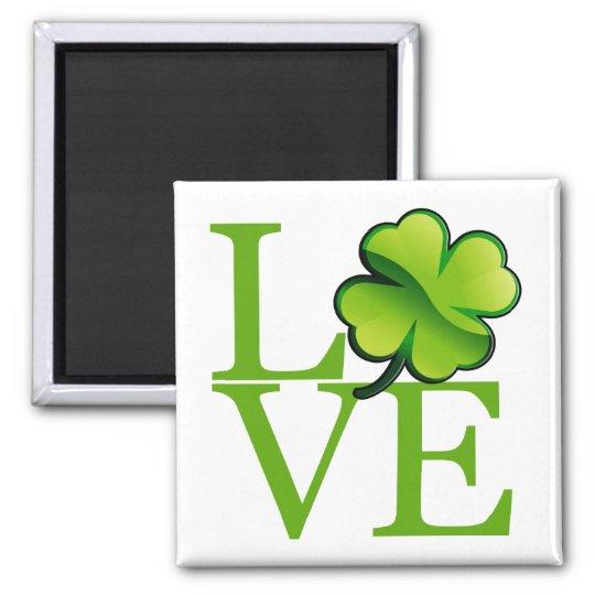Irish Shamrock Love Square Magnet
