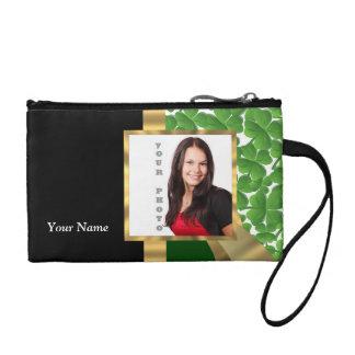 Irish shamrock personalized instagram coin purse