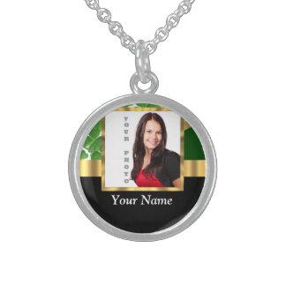 Irish shamrock personalized instagram round pendant necklace