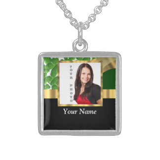 Irish shamrock personalized instagram sterling silver necklace