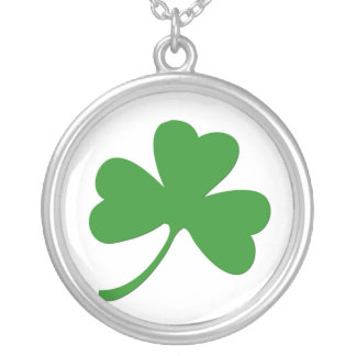 Irish Shamrock Round Silver Necklace