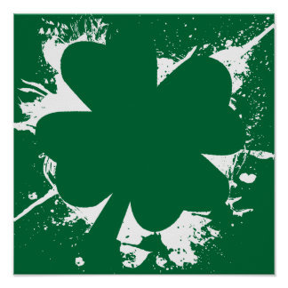 Irish Shamrock Splatter Poster