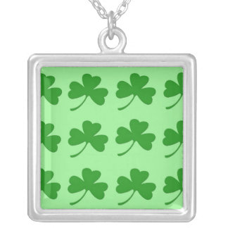 Irish Shamrock Square Silver Necklace