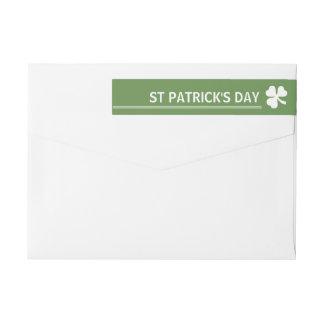 Irish Shamrock St Patrick's Day Wrap Around Label