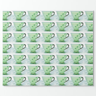 Irish Shamrock Tea Cup Wrapping Paper