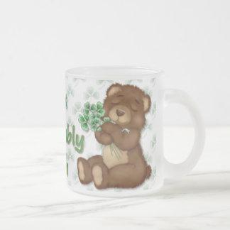 Irish Shamrock Teddy 10 Oz Frosted Glass Coffee Mug