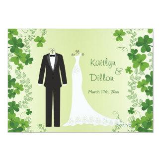 Irish shamrock, tuxedo & gown Wedding Shower Card